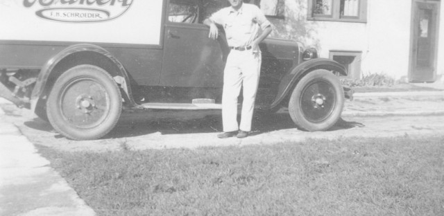 Fred Schroeder poses in front of his mobile pie truck.