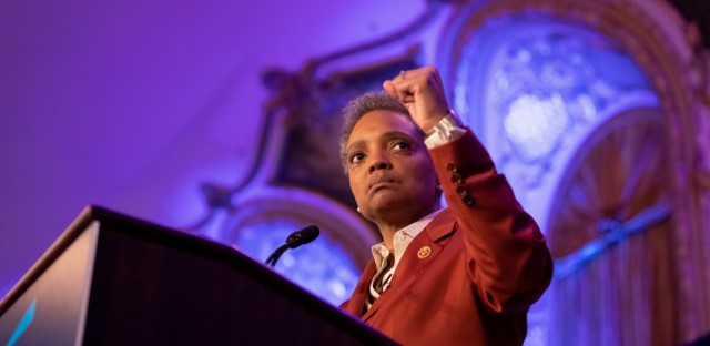 Mayor-elect Lori Lightfoot gives her acceptance speech in front of a crowd of supporters on April 2, 2019. She is the first African-American woman to be elected mayor of Chicago.