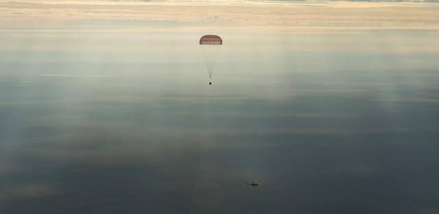 The Soyuz MS-01 spacecraft as it lands with NASA astronaut Kate Rubins, Russian cosmonaut Anatoly Ivanishin and astronaut Takuya Onishi of the Japan Aerospace Exploration Agency on Sunday.