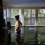 Louisiana Resident Surveys Flooding Underwater