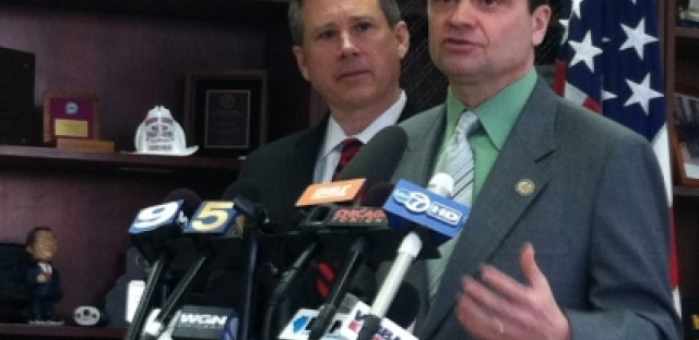 U.S. Congressman Mike Quigley (front) and U.S. Senator Mark Kirk (back) want the FBI to investigate Project Shield.