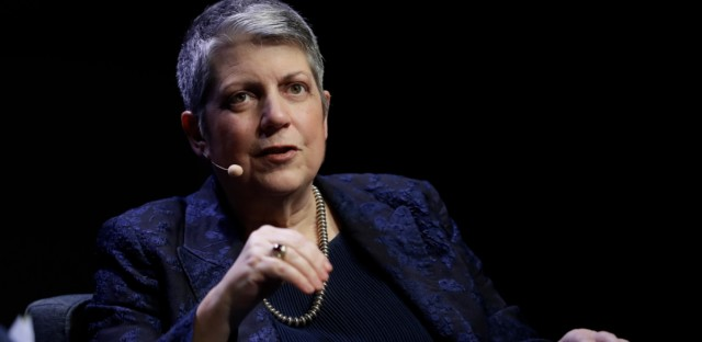 University of California President Janet Napolitano speaks during a meeting of The Commonwealth Club Wednesday, March 7, 2018, in San Francisco.