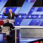 Democratic presidential candidate, Sen. Bernie Sanders, I-Vt and Democratic presidential candidate, Hillary Clinton interrupt each other during the Univision, Washington Post Democratic presidential debate at Miami-Dade College, Wednesday, March 9, 2016, in Miami.