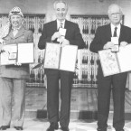 "Palestinian leader Yasser Arafat (from left), Israeli Foreign Minister Shimon Peres and Israeli Prime Minister Yitzhak Rabin pose with their medals and diplomas after receiving the 1994 Nobel Peace Prize on Dec. 10, 1994. The three were awarded the prize for ""for their efforts to create peace in the Middle East."""