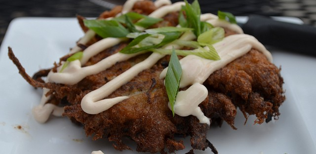 Two-potato latkes with adobo sour cream