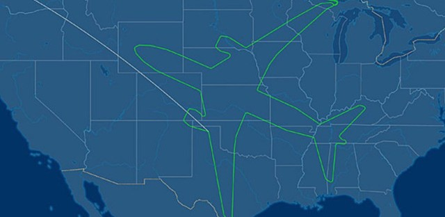 The flight path of a Boeing 787-8 that traced out an image of the aircraft. FlightAware