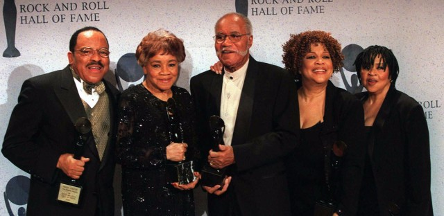 FILE - This March 15, 1999 file photo shows the sibling group The Staples Singers, from left, Pervis, Cleotha, Pops, Mavis, and Yvonne at the Rock and Roll Hall of Fame induction ceremony in New York. Cleotha Staples, the eldest sibling in the highly influential gospel group The Staples Singers died Friday, Feb. 22, 2013, at her Chicago home after suffering from Alzheimer's disease for the last decade. She was 78.