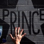 The star of music legend Prince, painted on the outside wall of First Avenue, featured in the film Purple Rain, in Minneapolis, Minnesota, two days after his death on April 21, 2016.