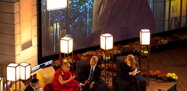 On Being : [Unedited] The Dalai Lama, Jonathan Sacks, Katharine Jefferts Schori, and Seyyed Hossein Nasr with Krista Tippett Image