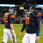 Chicago Bears quarterbacks Matt Barkley (12) and Jay Cutler (6)