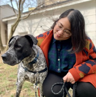 Soukprida Phetmisy, a Laotian American from Logan Square, and her dog Wilbur