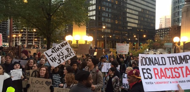 Thousands gather outside Trump International Hotel & Tower for an anti-Donald Trump rally Nov. 9, 2016 in Chicago.