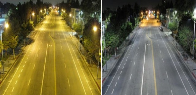 An example of the color differences in sodium vapor lighting, left, versus LED lighting, right, on a residential street in Los Angeles.