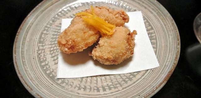 Fugu fried kara-age style at Kikunoi restaurant in Tokyo, Japan