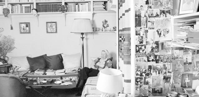 Simone de Beauvoir in her studio, rue Schoelcher 12 bis, Montparnasse, Paris, March 1986.