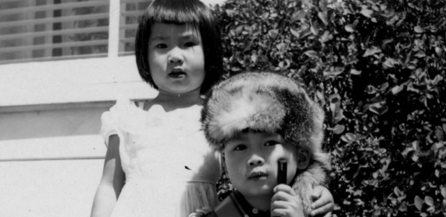 A 3-year-old Amy Tan appears with her brother Peter in this 1955 family photo. Peter died in 1967 after being diagnosed with a brain tumor.