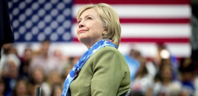 Democratic presidential candidate Hillary Clinton arrives to speak at a rally in Commerce City, Colo. on August 3.
