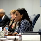 Chicago Public Schools CEO Janice Jackson at a Board of Education meeting on January 24, 2018.