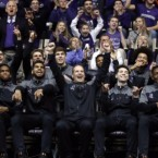 Northwestern head coach Chris Collins, center, and players at an NCAA Division I Men's Basketball Tournament Selection Show watch party on Mar. 12, 2017.