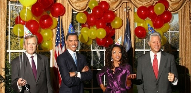 Famed Madame Tussaud's celebrated President Obama's birthday in 2009 with wax figurines of the president and famous friends.