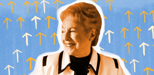 "Dame Stephanie Shirley changed her name to Steve Shirley shortly after starting her software business in the early 1960s. ""It was my first bit of strategic marketing,"" she says. (Photo courtesy of Dame Steve Shirley / Illustration by Paula Friedrich)"