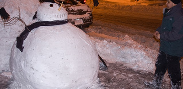 A snowman constructed by valet workers outside Frontera Grill on Wednesday February 2, 2011.