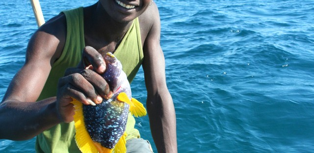 A fisherman in southwestern Madagascar holds up part of his haul.