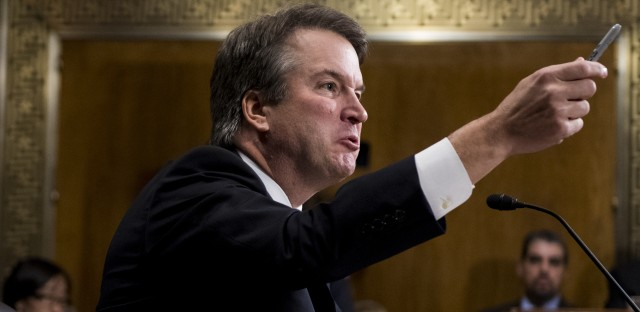 Judge Brett Kavanaugh testifies before the Senate Judiciary Committee on Capitol Hill Thursday. Christine Blasey Ford, who testified before the committee earlier in the day, accused Kavanaugh of sexually assaulting her during a party in 1982 when they were high school students in suburban Maryland.