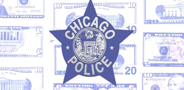The Chicago Police logo overalid on top of faded out dollar bills