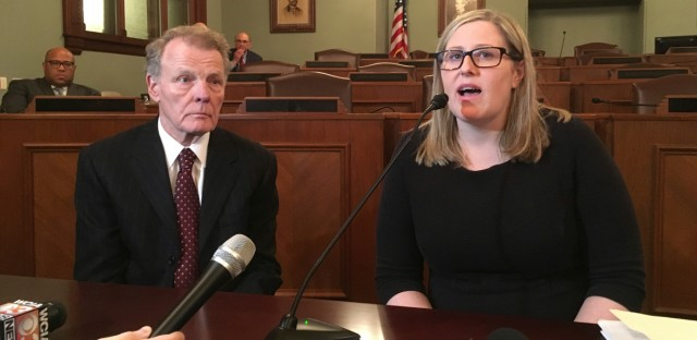 Illinois House Speaker Michael Madigan, left, appears with Heather Wier Vaught, right, attorney for Speaker Madigan's personal political committee, explains the process she took in investigating complaints from a Democratic Party campaign worker, Alaina Hampton, of sexual harassment by her supervisor, Kevin Quinn Tuesday, Feb. 13, 2018, in Springfield, Ill. Madigan, a Democrat from Chicago, announced Monday that Quinn, a longtime political aide, had been fired for sending Hampton inappropriate text messages in the fall of 2016. On Tuesday, Hampton told a news conference in Chicago, that had she not told her story to the Chicago Tribune, Quinn would not have been fired. Madigan denied that later in Springfield, said he first learned of Hampton's allegation in November 2017 and turned it over to Vaught for investigation.