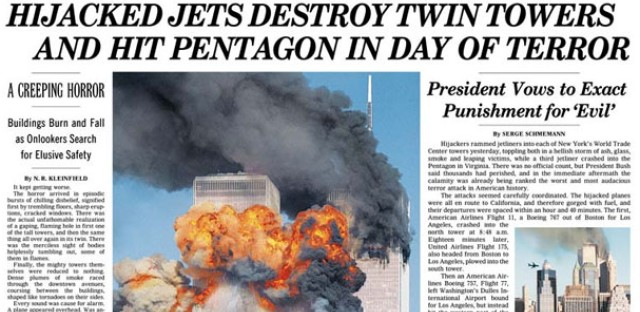 The front page of the New York Times on September 12, 2001, above the fold.
