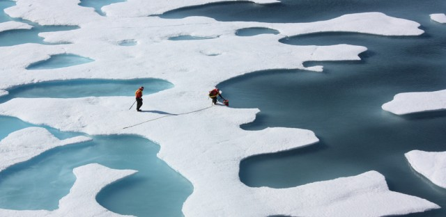 A U.S. Coast Guard crew retrieves a canister dropped by parachute in the Arctic in 2011. Over the past four decades, researchers at the University of California, Santa Barbara, and several other universities have studied shifts in atmospheric circulation above the Arctic.