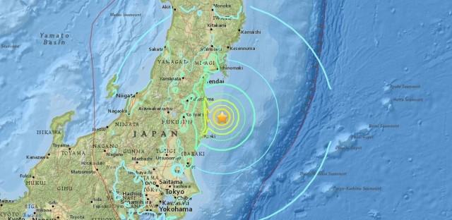 This map by the U.S. Geological Survey shows the epicenter of the quake, which hit Japan early Tuesday local time.