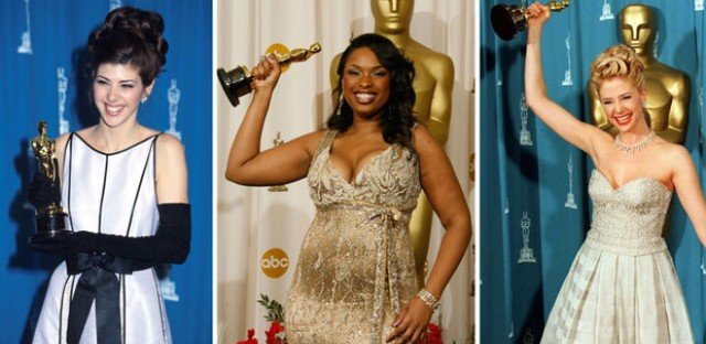 As legend has it, women's film careers are 'cursed' by winning the best supporting actress Academy Award. From left - winners Marisa Tomei in 1993, Jennifer Hudson in 2007 and Mira Sorvino in 1996.