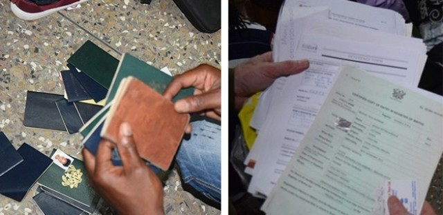 Evidence seized by authorities during raids linked to the fake U.S. embassy in Accra, Ghana.