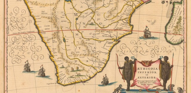 According to the Princeton University Library, this map from 1635 shows the northern boundary of the kingdom of Mutapa (aka Monomotapa) as the Mountains of the Moon (<em>Lunae Montes</em>) — they're in the center beneath the large body of water.