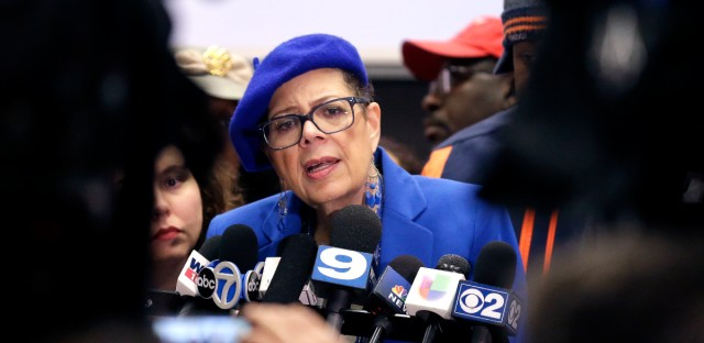 In this March 23, 2016, file photo, Chicago Teachers Union president Karen Lewis speaks at a news conference in Chicago. The Chicago Teachers Union said on Saturday, April 16, 2016, the countdown toward a possible strike had begun after it rejected the recommendation of a neutral arbitrator that it accept a contract offer from the nation's third-largest school system.