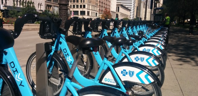 A rack of Divvy bikes in Chicago.