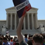 People gather in front of the U.S. Supreme Court last week, some opposing the controversial citizenship question the Trump administration tried to add to the 2020 census. Mark Wilson/Getty Images