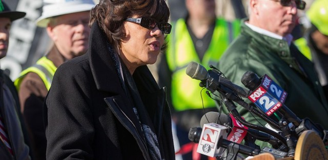 Flint Mayor Karen Weaver speaks at a press conference in March.