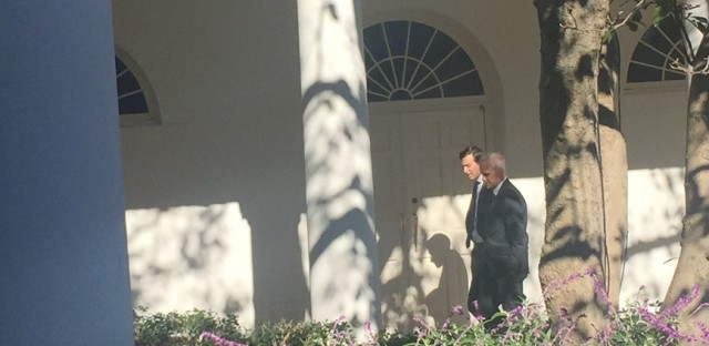 Chief of Staff Denis McDonough takes Trump's son-in-law Jared Kushner for a walk on the South Lawn of the White House. Kushner, husband of Ivanka Trump, played a key role in Trump's campaign.