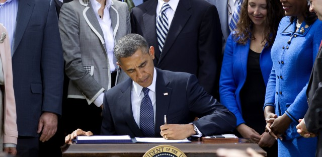 President Obama signs the Jumpstart Our Business Startups (JOBS) Act in 2012. Crowdfunding, long used by charities, could become a popular way for small businesses and startups to raise money.
