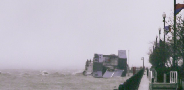 Zombie barge sinking in storm at Navy Pier