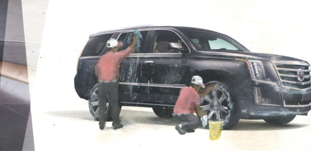 A Cadillac gets washed in Gomez's 2014 The Next Generation Escalade.