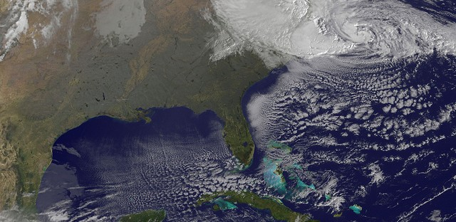 NOAA's GOES-13 satellite captured this visible image of Hurricane Sandy battering the U.S. East coast on Monday, Oct. 29 at 9:10 am EDT.