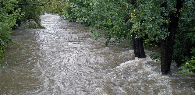 A swollen Chicago River runs through Bowmanville in 2008.