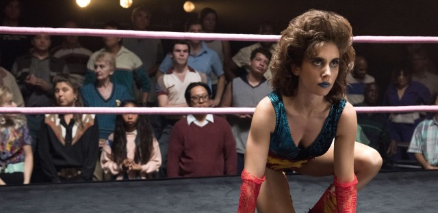 Alison Brie as Ruth, in the ring on <em>GLOW</em>.