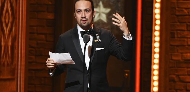Lin-Manuel Miranda accepts the award for best book of a musical for Hamilton at the 70th Annual Tony Awards at the Beacon Theatre on Sunday.