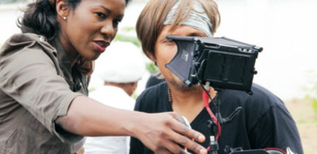 Director Stephanie Linus on the set of Dry.