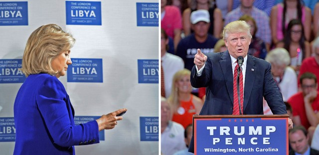 Hillary Clinton on the left, Donald Trump on the right
